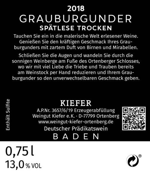 Weingut-Kiefer-Ortenberg-Wein-Erlesen-kaufen-Wein-Jahrgang- 2018 - Grauburgunder - Spätlese-trocken-Rücketikett