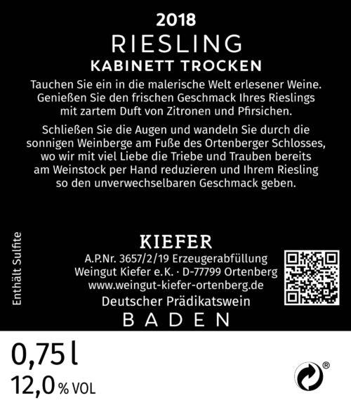 Weingut-Kiefer-Ortenberg-Wein-Erlesen-kaufen-Wein-Jahrgang- 2018 - Riesling - Kabinett - trocken - Rücketikett