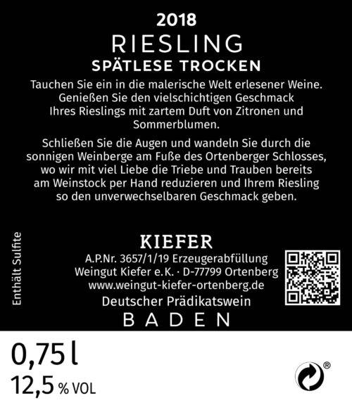 2020-09-06-Weingut-Kiefer-Ortenberg-Wein-Erlesen-kaufen-Wein-Jahrgang-2018 - Riesling - Spätlese - trocken - Rücketikett