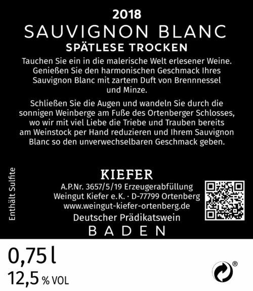 2020-09-06-Weingut-Kiefer-Ortenberg-Wein-Erlesen-kaufen-Wein-Jahrgang - 2018 - Sauvignon blanc Spätlese - trocken - Rücketikett