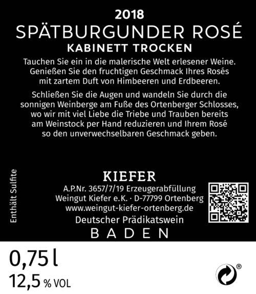 2020-09-06-Weingut-Kiefer-Ortenberg-Wein-Erlesen-kaufen-Wein-Jahrgang- 2018 - Spätburgunder Rose Kabinett - trocken - Rücketikett