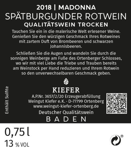 Weingut-Kiefer-Ortenberg-Wein-Rotwein-2018-Spätburgunder-trocken-Madonna-Etikett-Rückseite